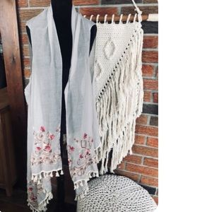 Embroidered Scarf/ Beach Cover Up/ Shawl